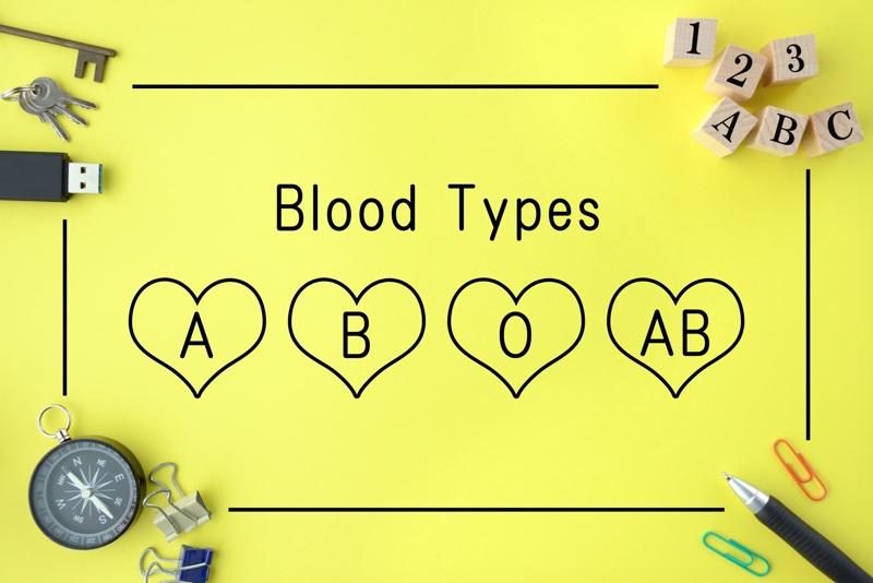 黄色いボードにハートに囲まれたA、B、O、ABの文字が書かれている