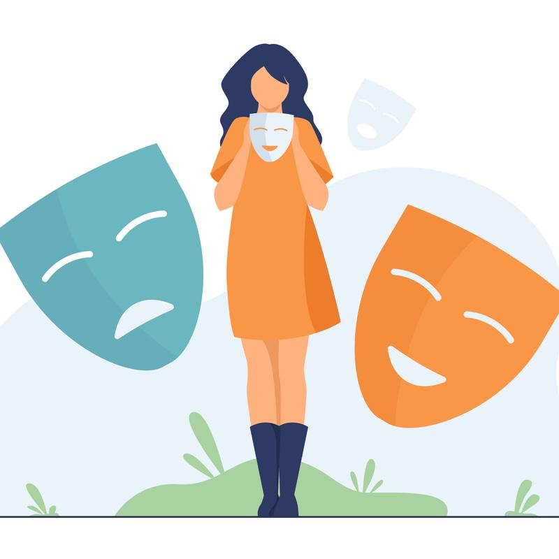 仮面を持った女性のイラスト