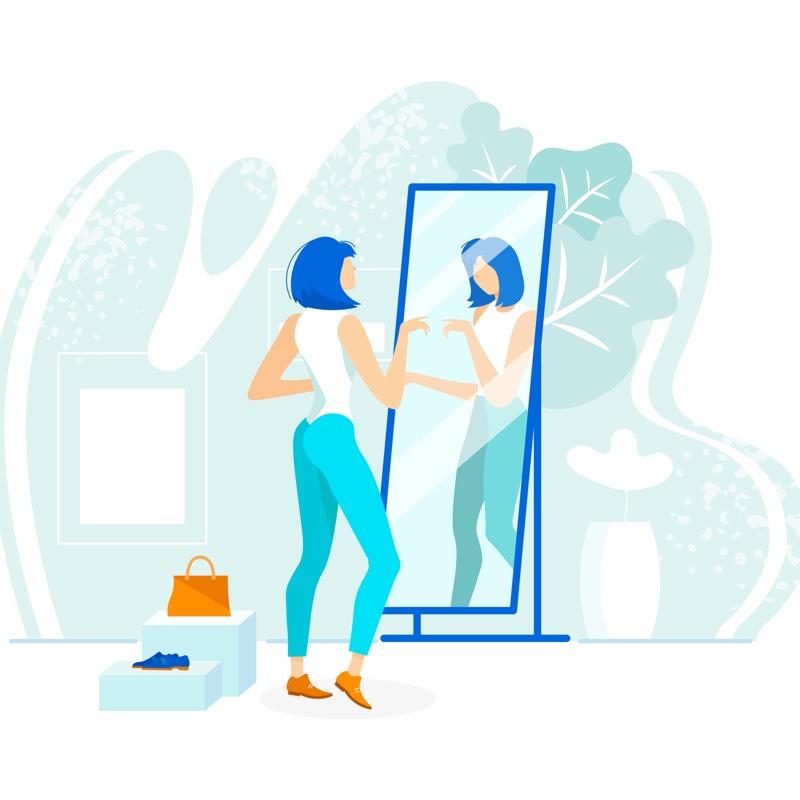 全身鏡を見る女性のイラスト