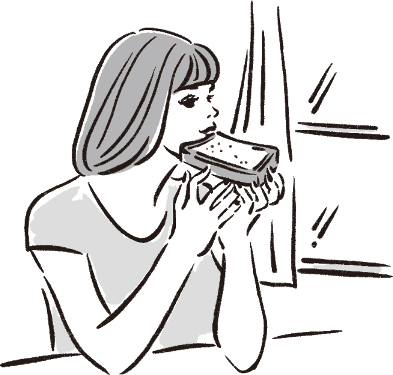 窓際で食パンをかじる女性のイラスト