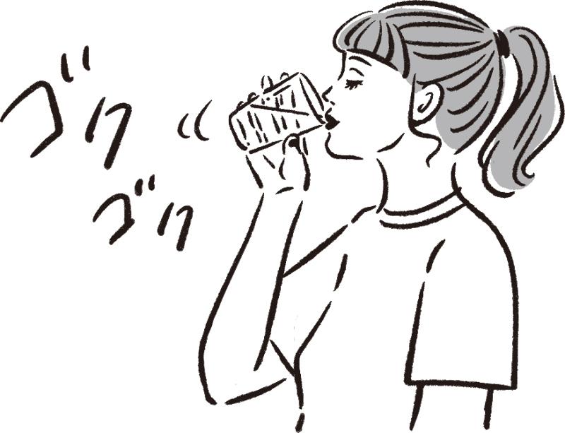 コップの水をゴクゴク飲む女性のイラスト