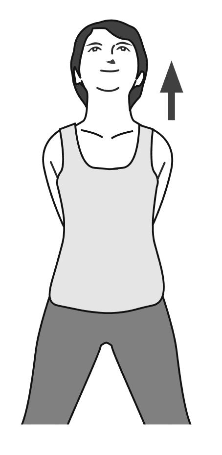 後ろで両手を組み、あごを上げた女性のイラスト