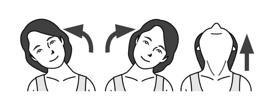首を左右、上に倒す女性のイラスト