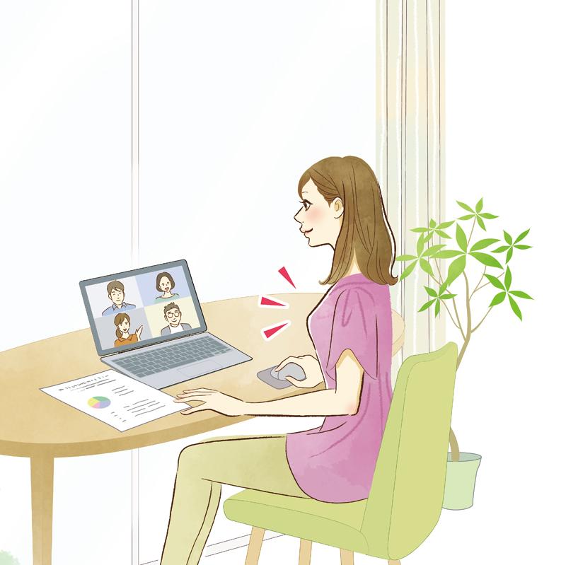 テレワークをしている女性のイラスト