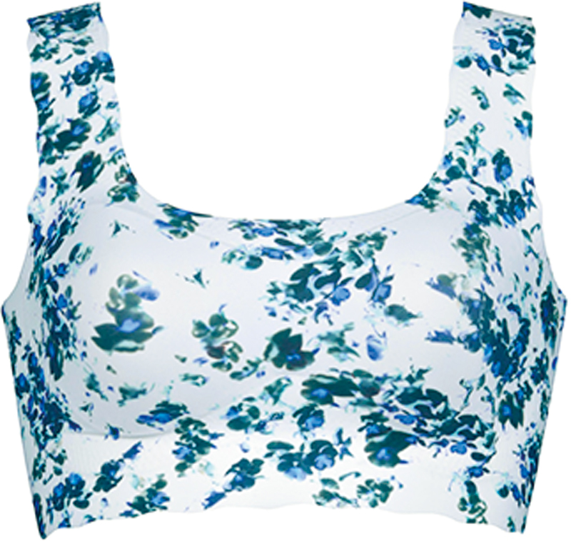 白地に青い花柄のブラレット