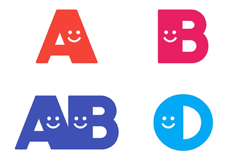 A,B,O,ABの文字のイラスト