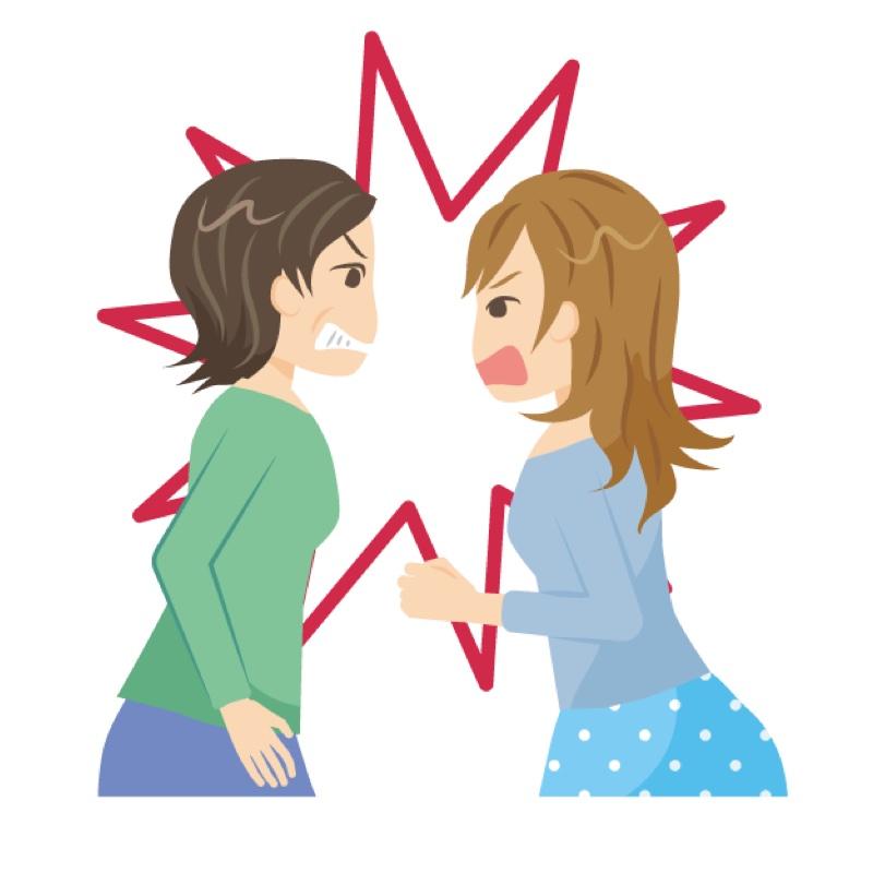 2人の女性が喧嘩をしているイラスト