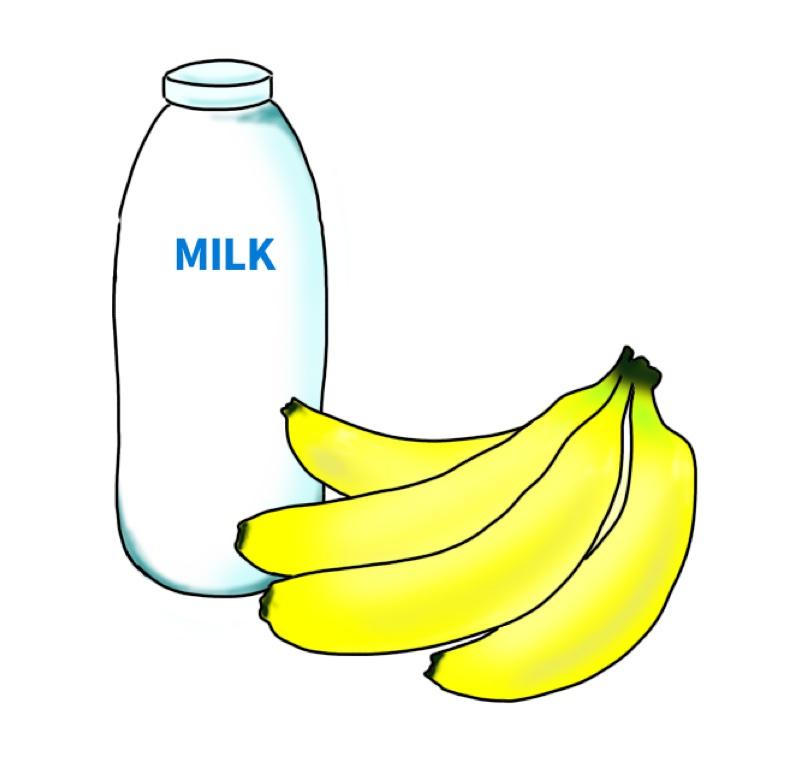 牛乳とバナナのイラスト