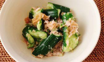 包丁いらず!3つの材料だけでさっぱり副菜「ツナの梅きゅうり和え」レシピ【JUNの#コンビニオンリ…