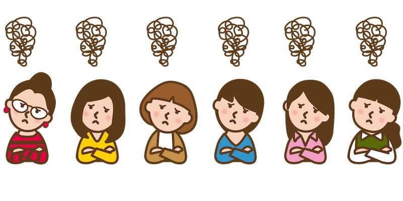 モヤモヤしている6人の女性のイラスト