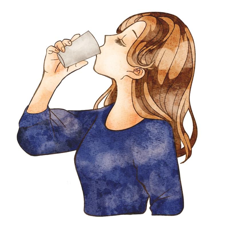 飲み物を飲む女性のイラスト