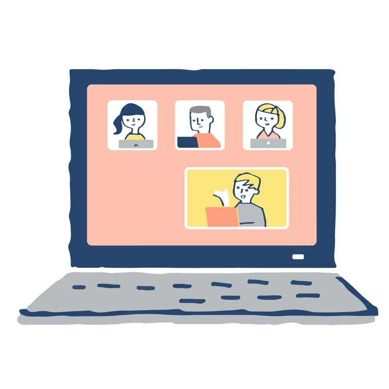 オンラインミーティングをしているパソコンの画面