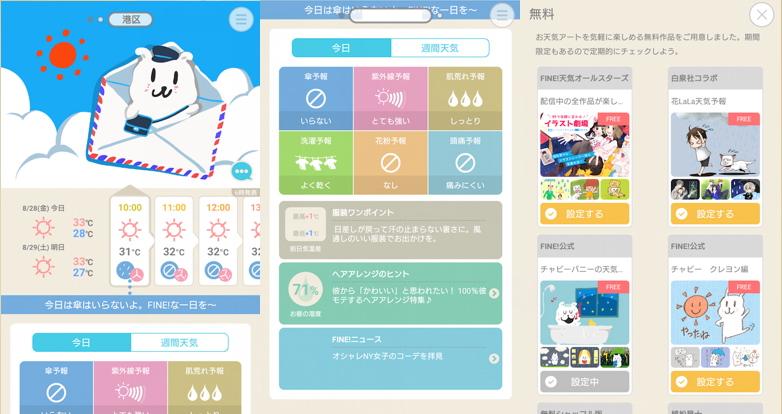 天気アプリ「FINE天気」の使用中画面
