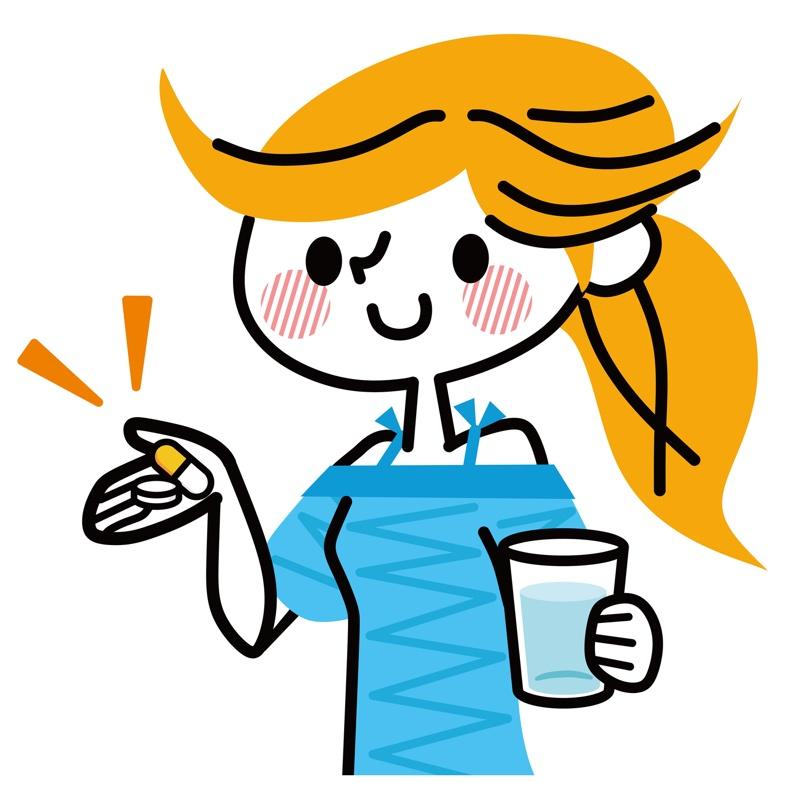 サプリメントを飲む女性のイラスト