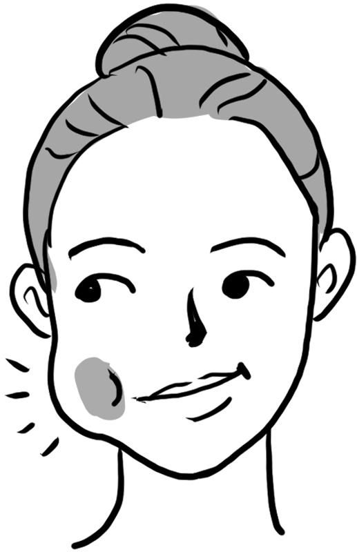 口に水を含み右の頰を膨らませた女性の顔イラスト