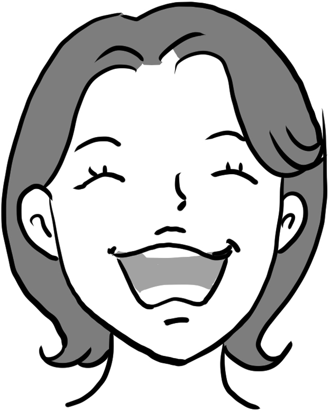 「あー」と口を大きく開いた女性のイラスト