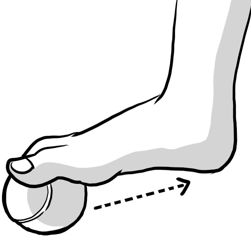 まず足の親指の先にボールを当てたイラスト