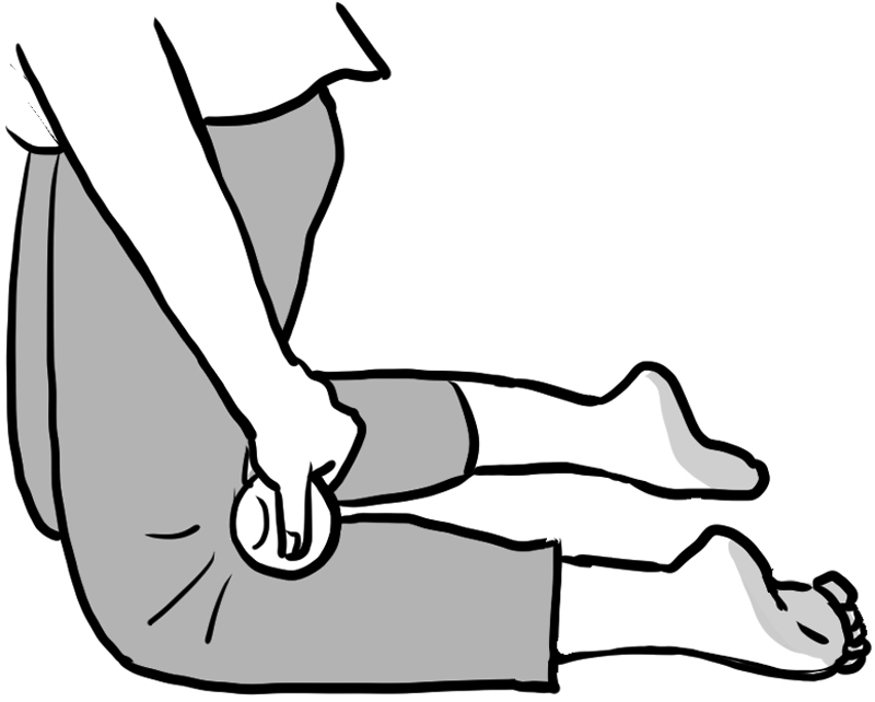 ひざ立ちでひざ裏にボールを挟むイラスト