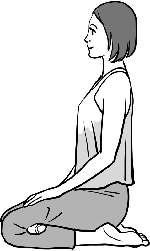 テニスボールをひざ裏に挟んで正座する女性のイラスト