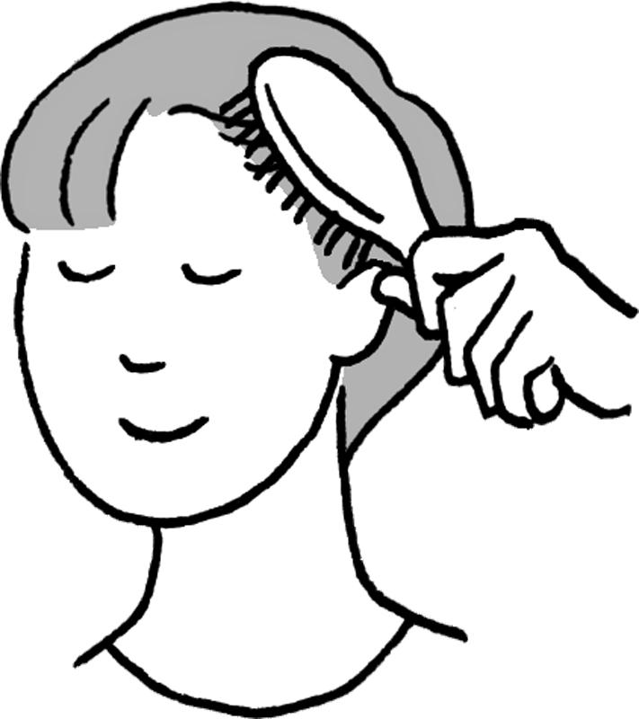 ブラッシングするショートヘアの女性のイラスト