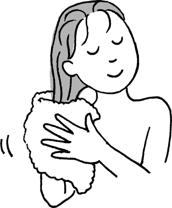 シャンプー後の濡れた髪をタオルドライする女性のイラスト
