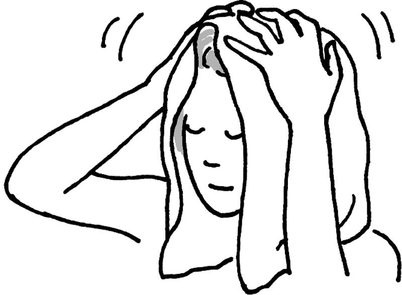 タオルを頭頂部に乗せ、髪の毛を拭く女性のイラスト