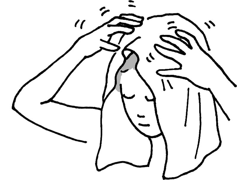 タオルを乗せた頭頂部を指でポンポンとタッピングする女性のイラスト
