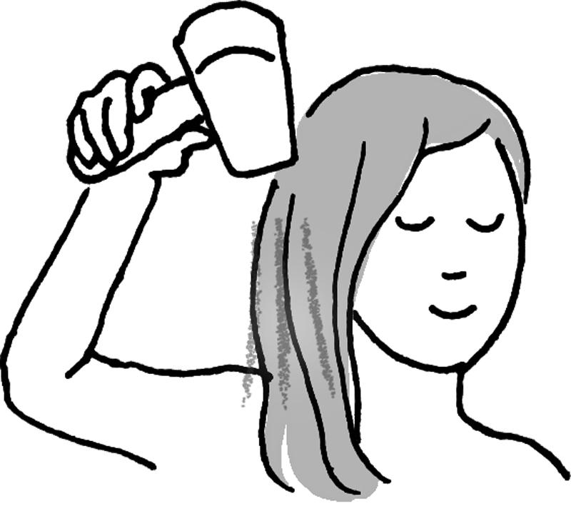 頭の上から下に向かってドライヤーをあてる女性のイラスト