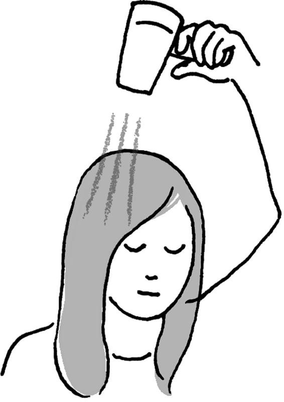 ドライヤーをあてる女性のイラスト
