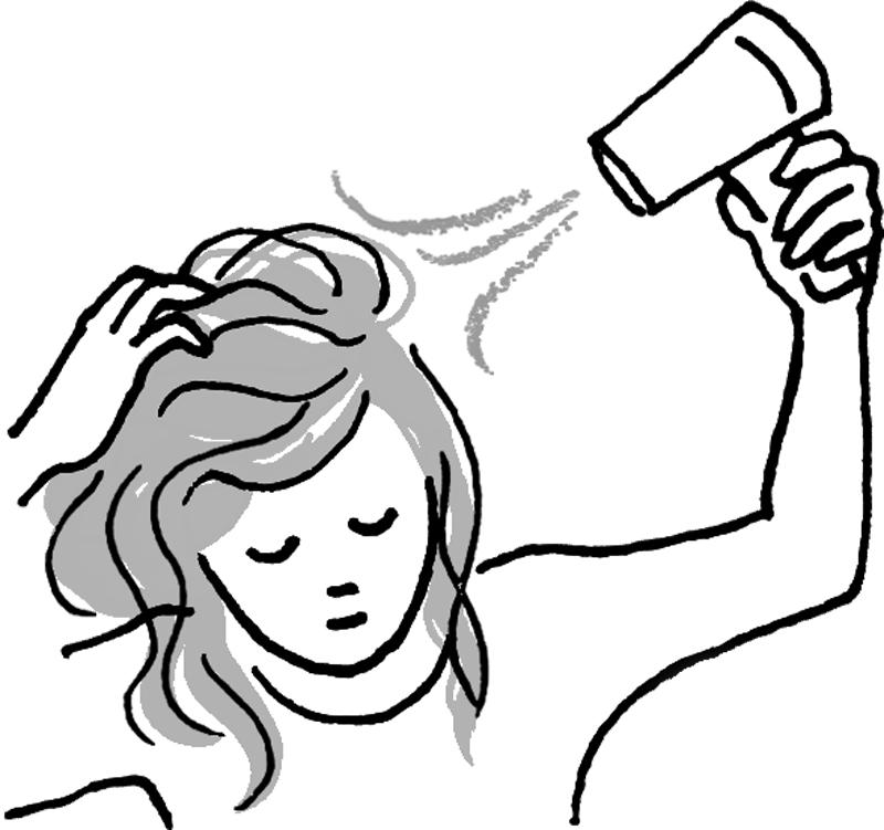 髪の毛を持ち上げドライヤーをあてる女性のイラスト