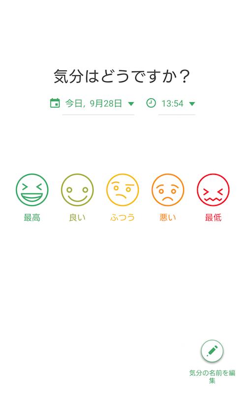 ストレスケアアプリ「Daylio」のトップ画面