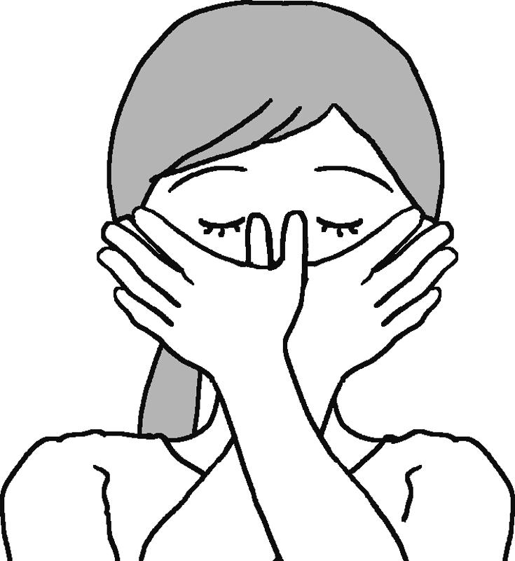 親指で鼻筋を挟み、中央に向かって押し上げるイラスト
