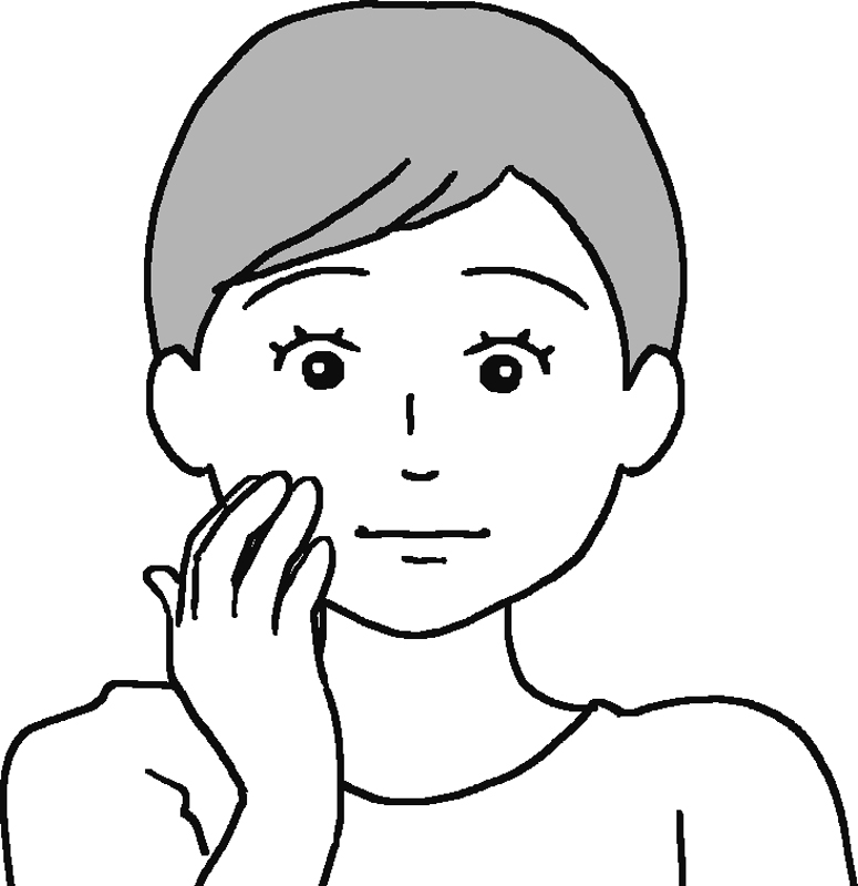 耳の横の頬を3本の指でほぐすイラスト
