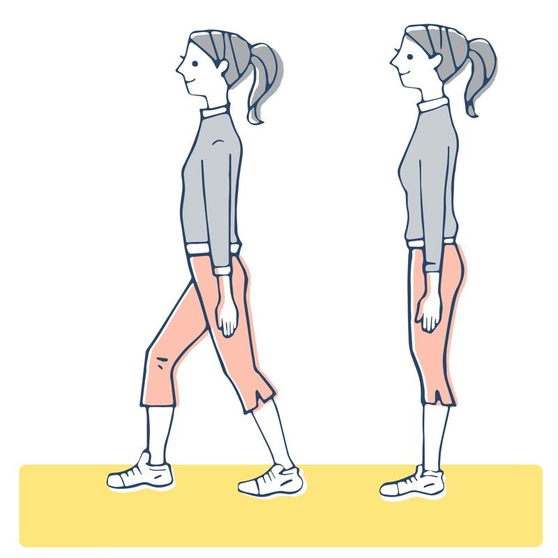 立っている女性と足を踏み出している女性のイラスト