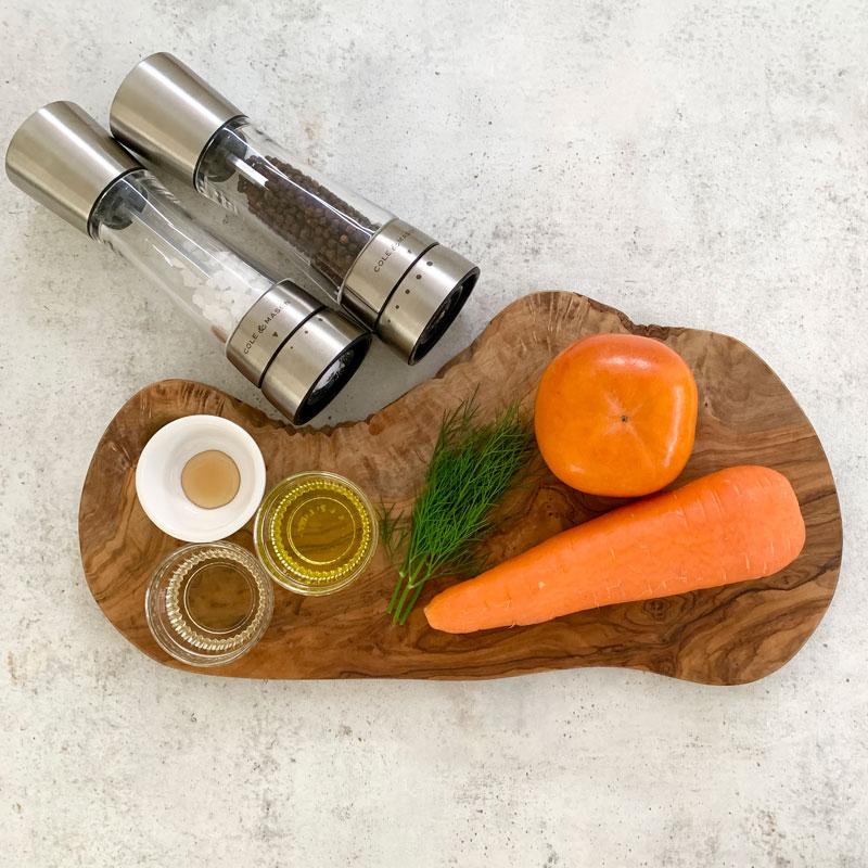 柿とにんじんを使った、美肌効果が高く乾燥対策によい常備菜「秋のキャロットラペ」材料