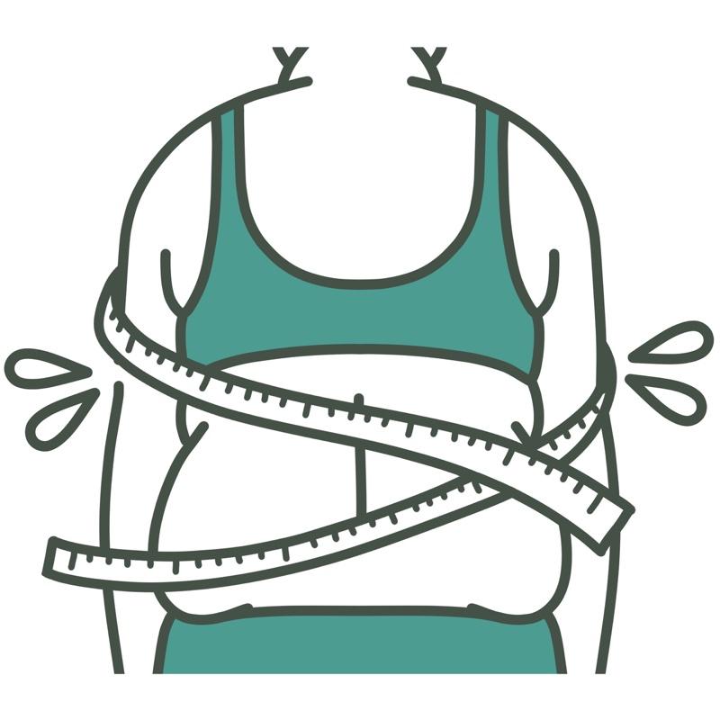 太った女性の後ろ姿のイラスト