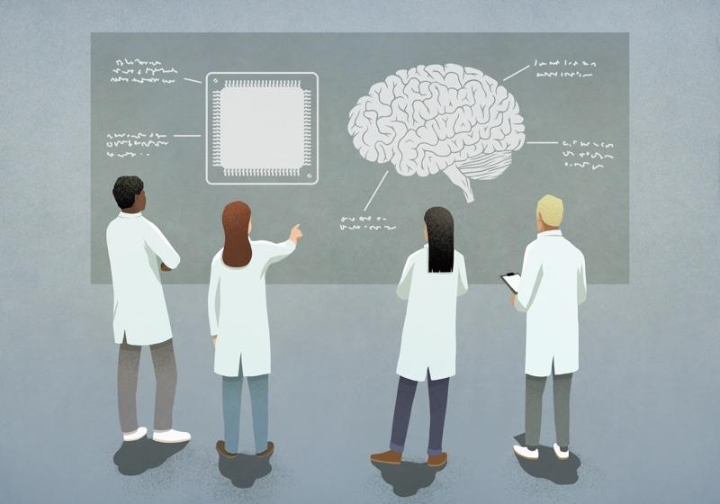脳のイラストを見て話し合う4人の研究者のイラスト