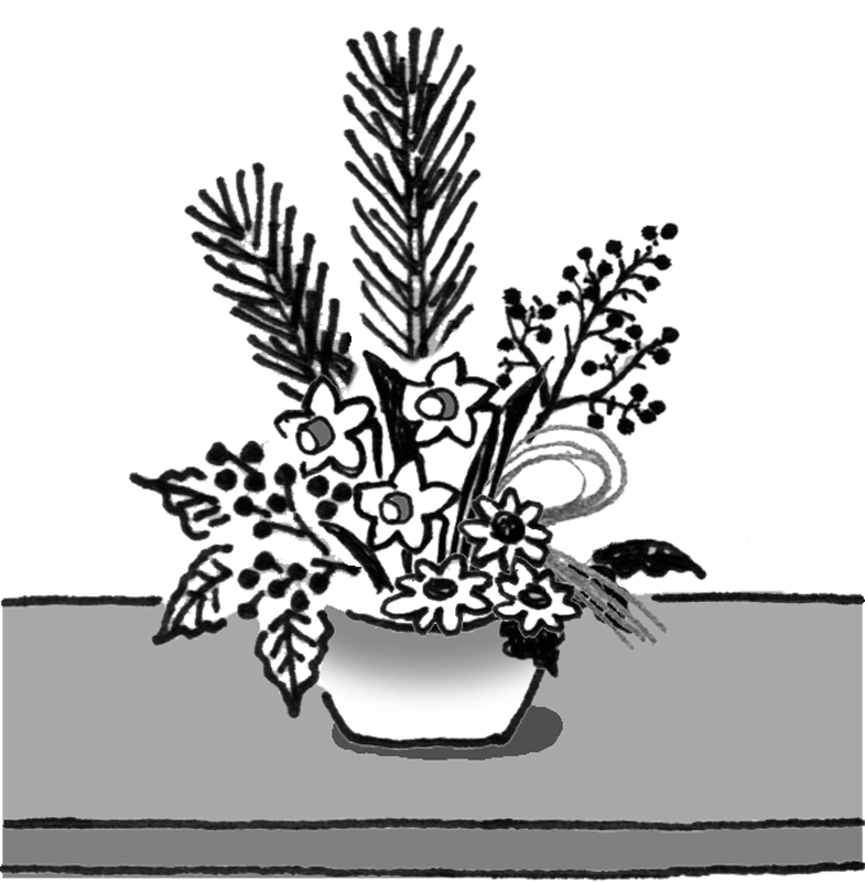 正月感あふれる生け花のイラスト