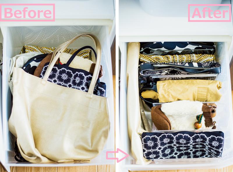 整理する前と後のバッグ収納