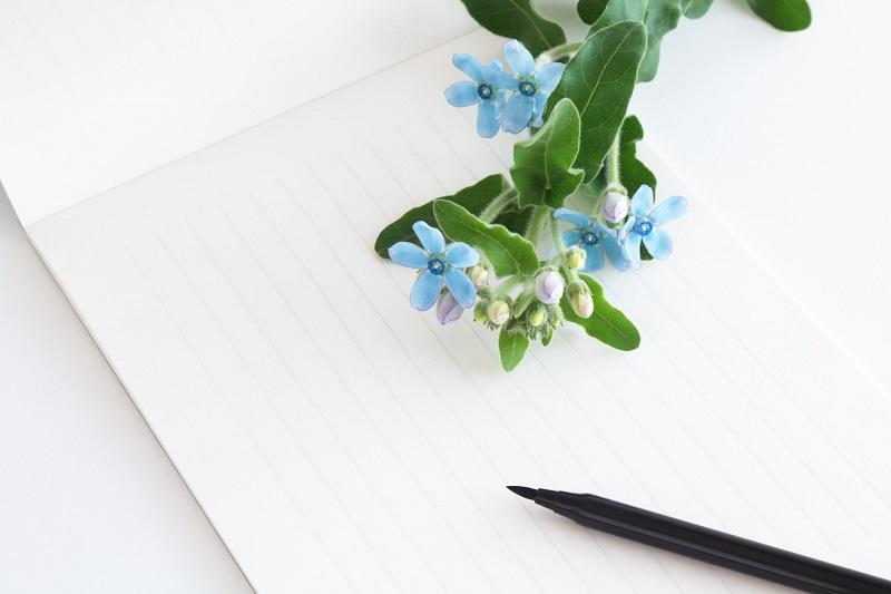 白い便箋と黒いペンと花
