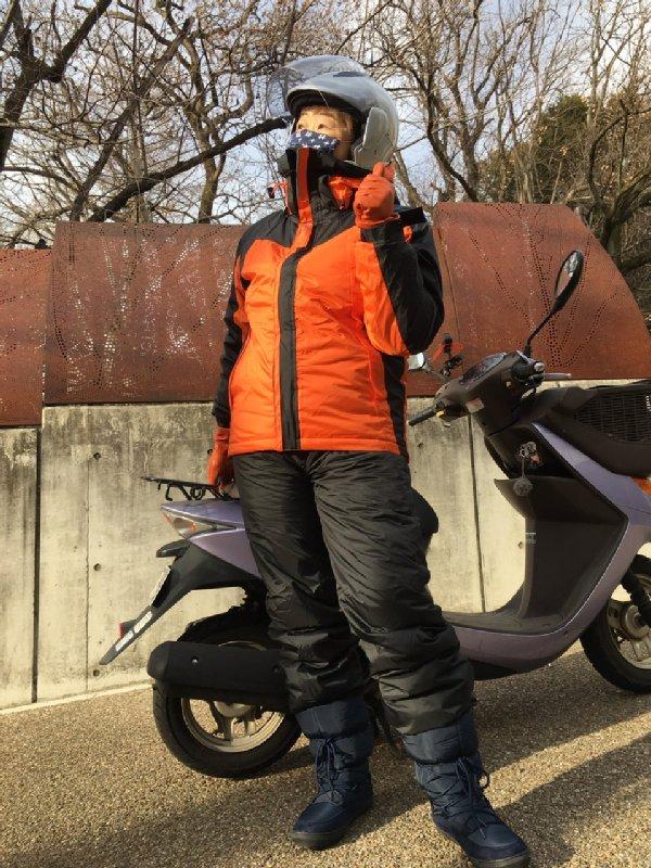 ワークマンの防寒バイクウェアを着たオバ記者