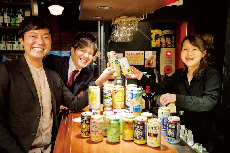 ワラバランス・盛田シンプルイズベストさん、宮崎拓也さん、バーテンダーの青木圭子さん