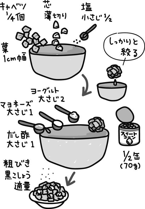コールスローサラダの作り方のイラスト