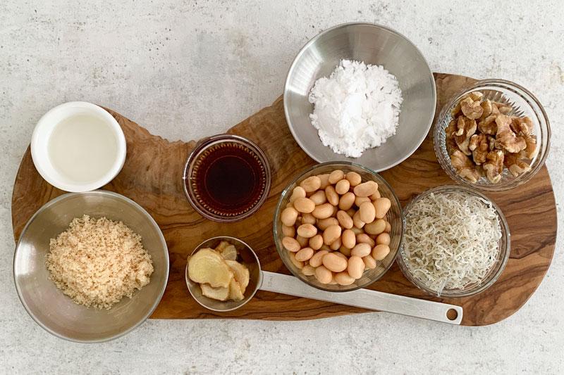 市橋有里がレシピ考案した「じゃこと大豆の甘辛炒め」材料