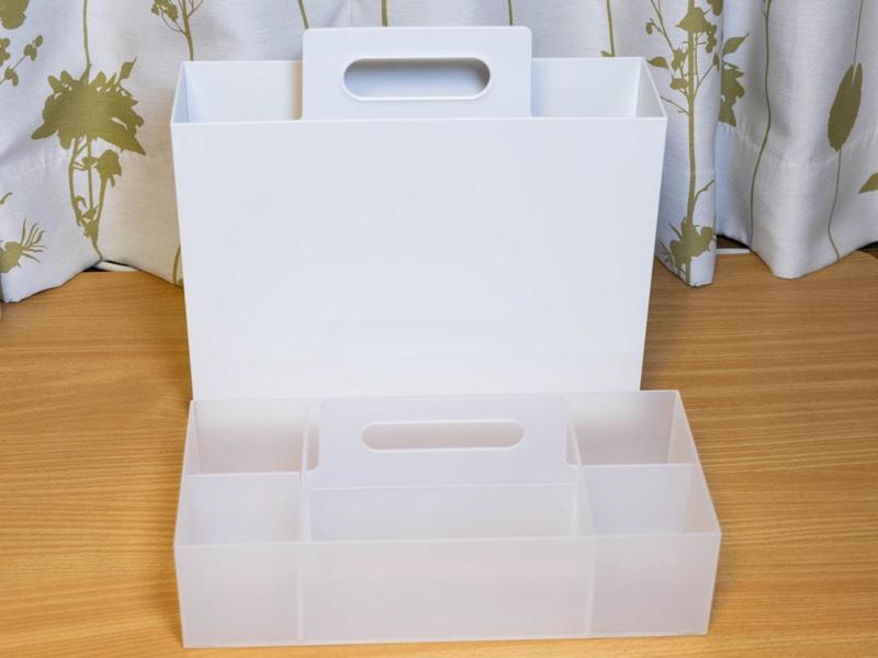 無印良品の「持ち手付きファイルボックス」と「ポリプロピレン収納キャリーボックス」