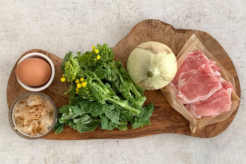 市橋有里がレシピ考案した「新玉ねぎと菜の花の豚しゃぶサラダ」材料