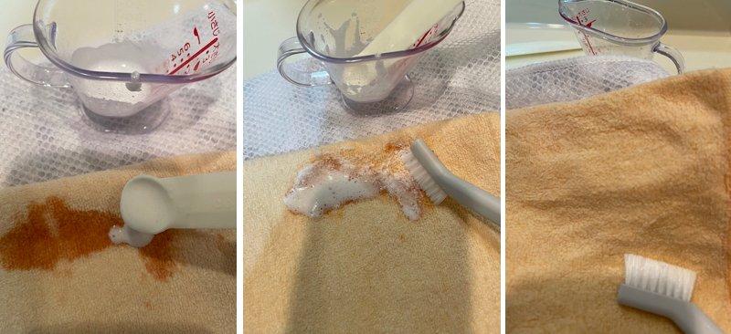 ケチャップをつけた生地をオキシウォッシュで洗ったもの