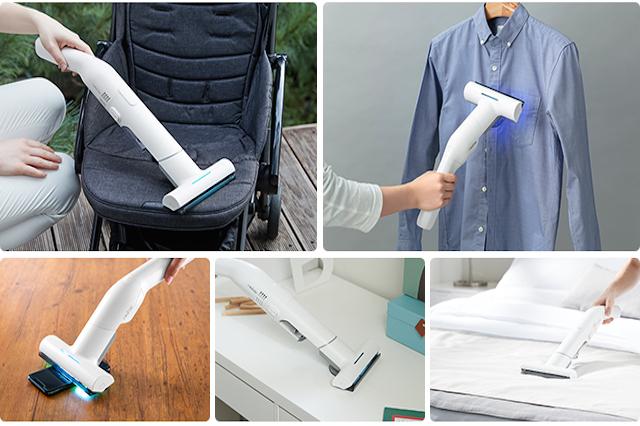 レイコップ・ジャパン『レイコップGO』でベビーカーを掃除している写真とワイシャツを除菌している写真とスマホを除菌している写真と机周りを掃除している写真と寝具を掃除除菌している写真