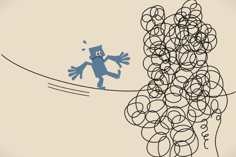綱渡りをする男性のイラスト