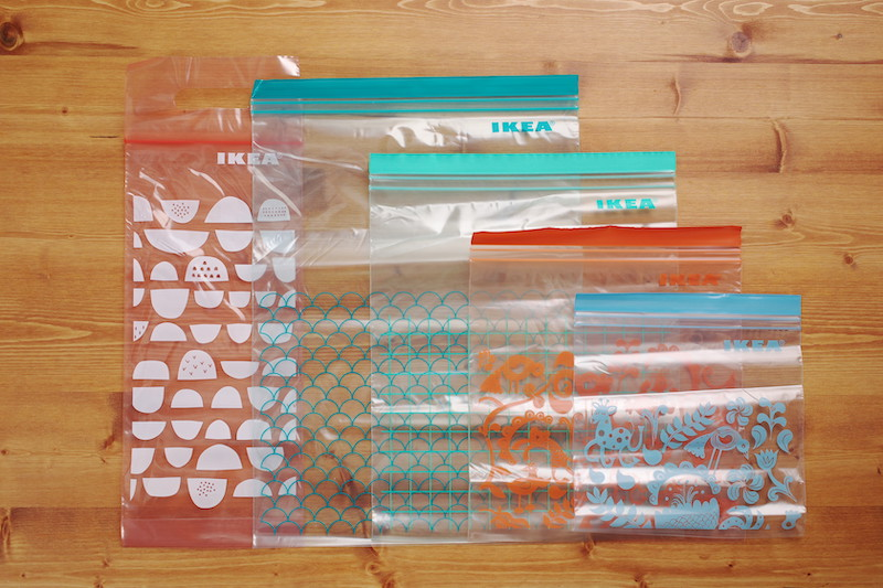 5種のフリーザーバッグ
